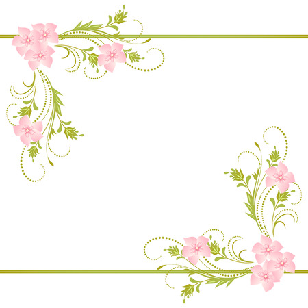 Decorative corner floral ornament Stock Illustratie