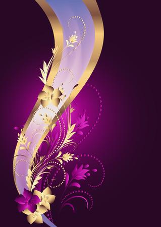 fondo elegante: Fondo con ornamentos de oro y cinta elegante Vectores