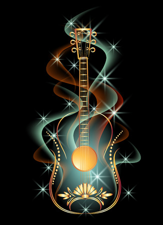 shimmering: Golden decorative guitar in smoke and glowing stars