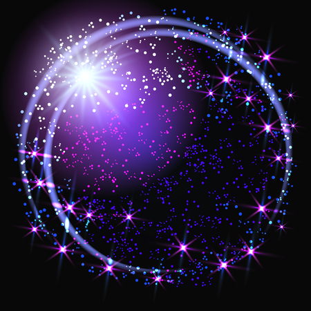 glowing star: Sparkle background and glowing round frame with shiny star