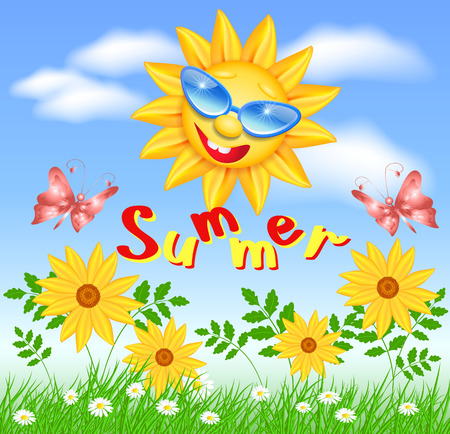 Smiling sun in glasses with daisy and butterflies Illustration