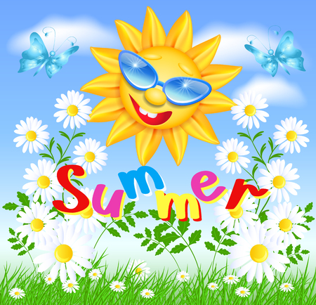 laughable: Smiling sun in glasses with daisy and butterflies Illustration