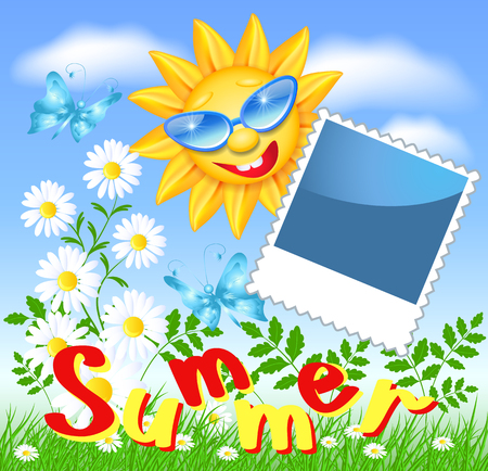 laughable: Smiling sun in glasses with photo frame and daisy