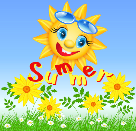 sun glasses: Smiling sun in glasses with inscription summer