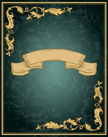 title page: Vintage ornament frame and decorative ribbon in retro style. Design title page diploma or booklet with antique engraving. Illustration