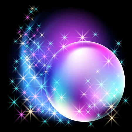 black star: Glowing bubble with sparkle stars Illustration