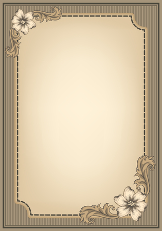 Vintage ornament frame and decorative border in retro style. Design title page diploma or booklet with antique engraving.