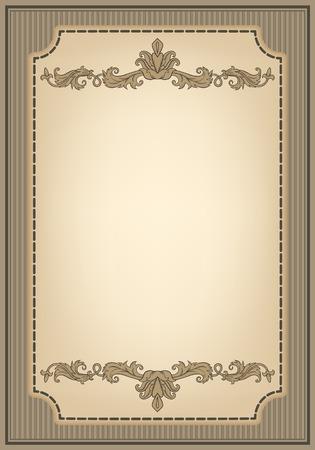bordure de page: cadre d'ornement vintage et bordure décorative dans le style rétro. Conception page titre diplôme ou livret avec gravure antique.
