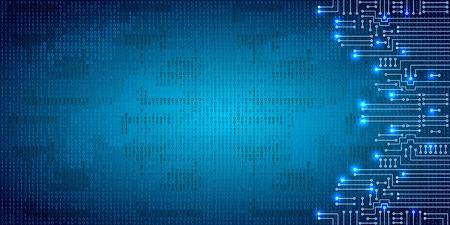 Disegno moderno circuito elettronico e codice binario su sfondo blu grungy
