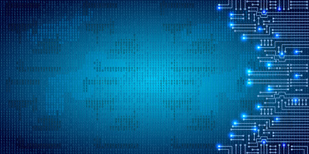 electronic background: Drawing modern electronic circuit and  binary code on blue grungy background