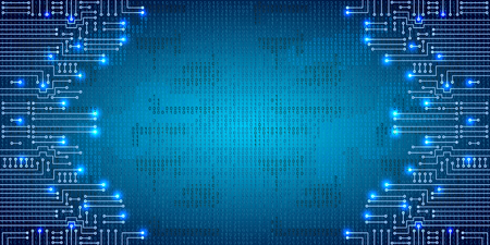 binary code: Drawing modern electronic circuit and  binary code on blue grungy background