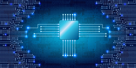 electronic background: Drawing modern electronic circuit and  binary code on blue background