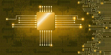 codigo binario: Dibujo circuito electrónico moderno y código binario en fondo azul Vectores
