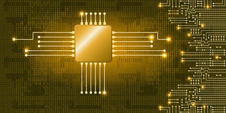 Rysunek nowoczesny układ elektroniczny i kodu binarnego na niebieskim tle