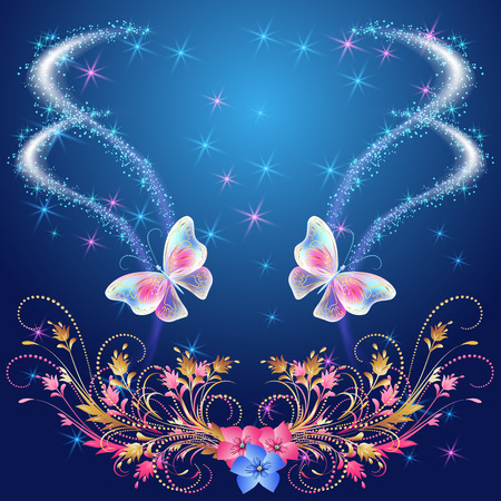 glowing: Transparent  butterflies with  floral ornament, flowers and glowing firework Illustration