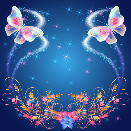 shimmering: Transparent  butterflies with  floral ornament, flowers and glowing firework Illustration