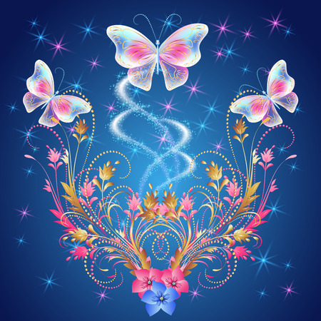fab: Transparent  butterflies with  floral ornament, flowers and glowing firework Illustration