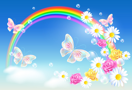 buterfly: Rainbow in sky clouds with magic butterflies and flying diasy
