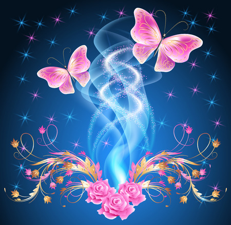 fab: Magic  butterflies with  floral ornament, roses and glowing firework