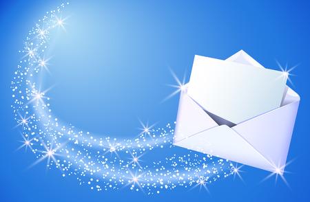 Abra el sobre de papel y letra de la hoja del vuelo con las estrellas sobre fondo azul de la chispa