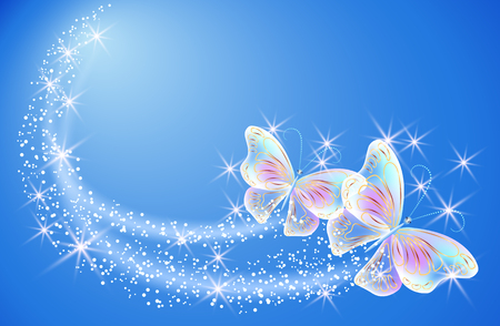 fab: Flying butterflies with sparkle stars and glowing firework Illustration