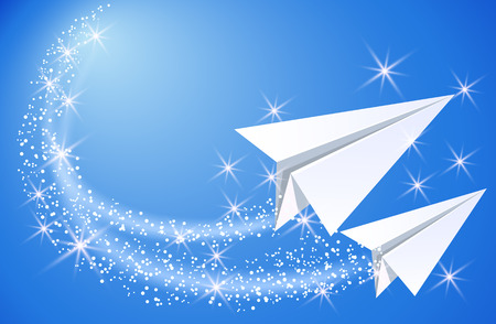 fly up: Two paper airplane fly up in the sky with sparkle glowing stars