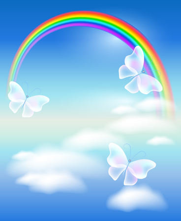 insect flies: Rainbow in clouds sky with butterflies Illustration