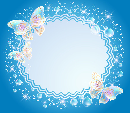 a place for the text: Magic background with transparent butterflies, openwork frame and a place for text or photo Illustration