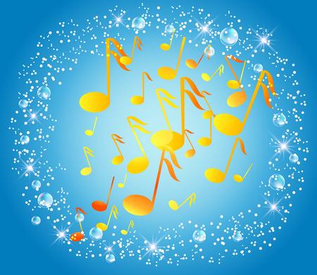 marcos decorados: Fondo azul con notas musicales, burbujas y estrellas