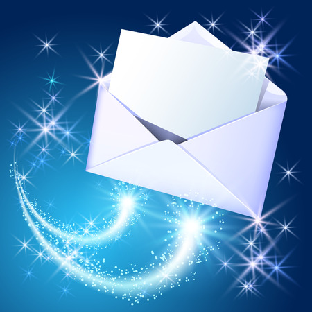 glued: Open paper envelope and sheet letter flying with sparkle stars on blue background
