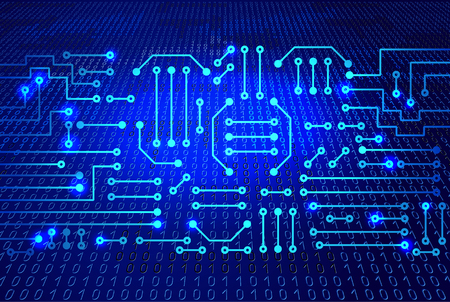 Drawing modern electronic circuit and  binary code on blue background