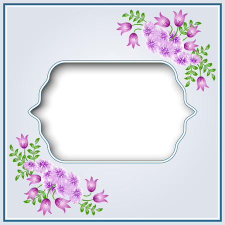 Decorative floral ornament with retro vintage frame and bluebell with daisy