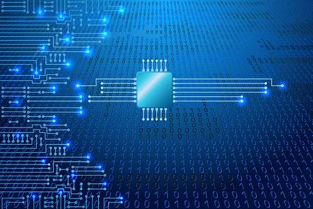 Dibujo circuito electrónico moderno y código binario en fondo azul
