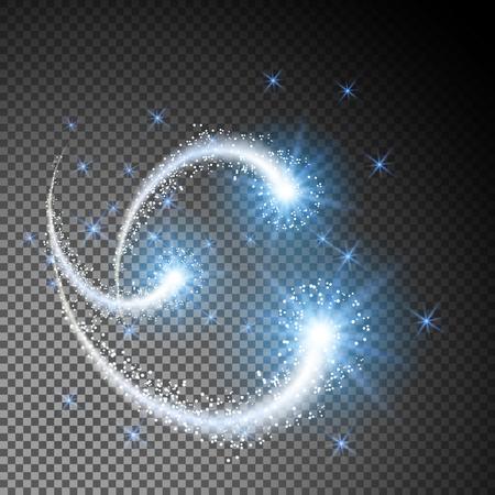 Glowing étoiles volantes comète comme élément de conception isolé sur fond translucide ou transparent spécial
