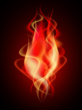 smoothness: Burning red flame with decorative smoke Illustration