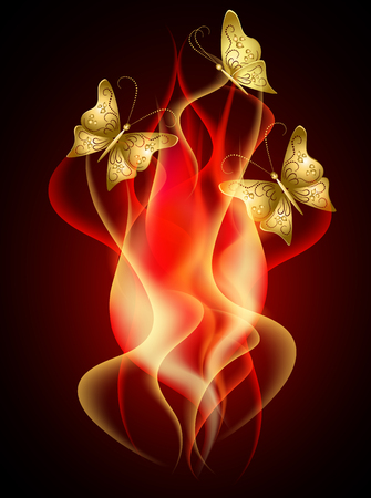 semitransparent: Burning red flame with decorative smoke and flying butterflies Illustration