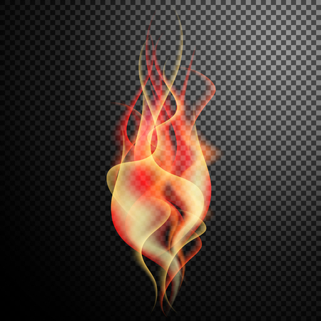 smoothness: Burning red glowing flame with decorative smoke as design element isolated on special translucent or transparent background Illustration