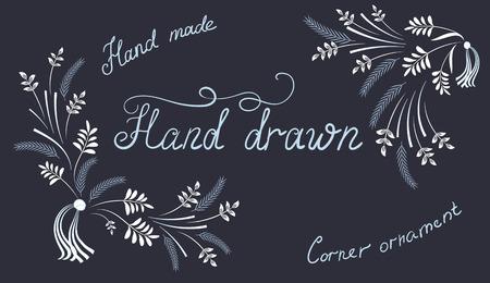 getekende set de hand bloemen kalligrafische design elementen en hoekornament met inscripties