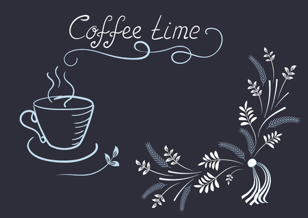 Design elements signboard for cafe or restaurant with corner ornament, coffee cup and headline in style hand drawing and handwriting Vetores