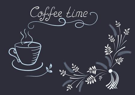letrero: Los elementos de diseño de rótulos para cafetería o restaurante con el ornamento de la esquina, y el titular de la taza de café en el estilo de dibujo de la mano y la escritura a mano