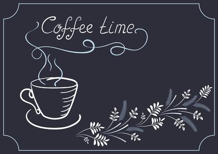 letreros: Los elementos de diseño de rótulos para cafetería o restaurante con el ornamento de la esquina, y el titular de la taza de café en el estilo de dibujo de la mano y la escritura a mano