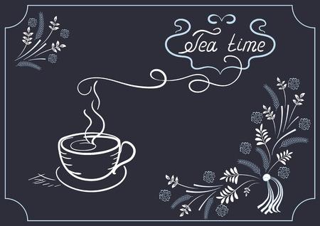 letrero: Los elementos de diseño de rótulos para cafetería o restaurante con el ornamento de la esquina, y el titular de la taza de té en el estilo de dibujo de la mano y la escritura a mano