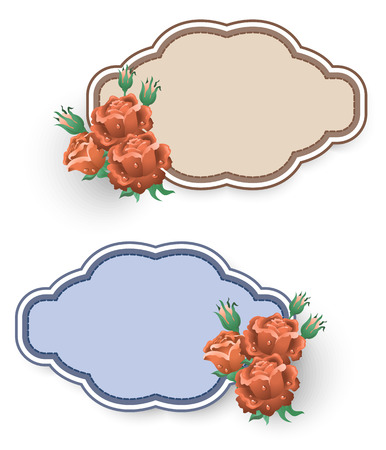 Set decorative labels with roses ornament