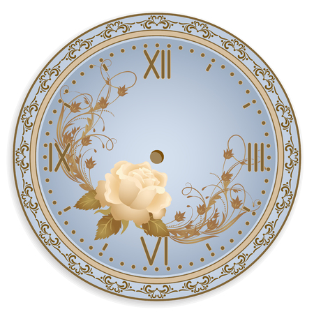 Clock face with vintage ornament and roses flowers for decoupage