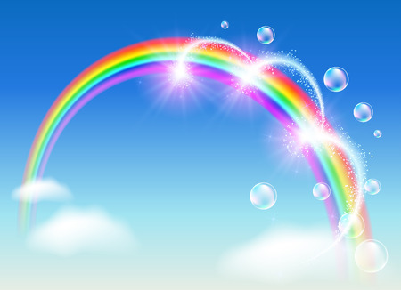 rainbow sky: Rainbow with bubbles and fireworks in the clouds sky