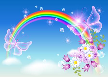 Arco iris con flores y mariposa mágica en el cielo Foto de archivo - 61024531
