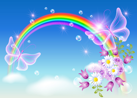 Rainbow with flowers and magic butterfly in the sky