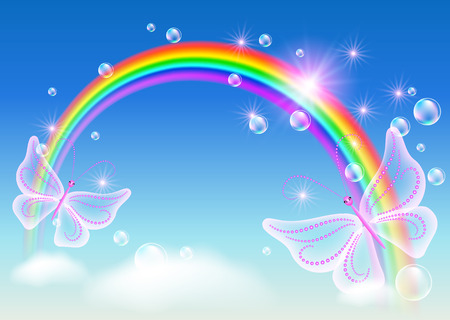 Rainbow with bubbles and magic butterfly in the sky Illustration