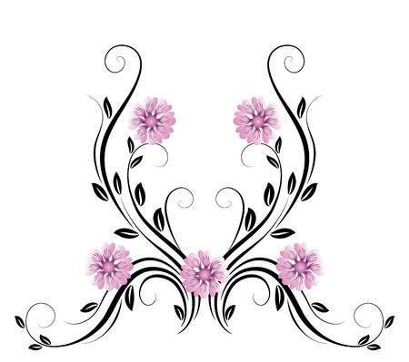 ornamento floreale decorativo con la margherita su sfondo bianco
