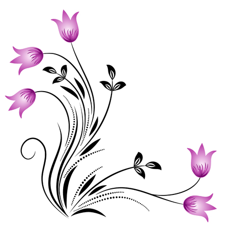 Decorative floral corner ornament with bluebells on white background